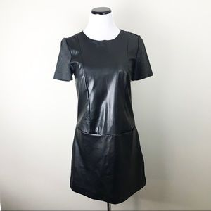 Zara Faux Leather Ponte Dress with Pockets